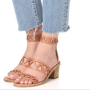 Dempsey Geo Genuine Leather Kitten Heel Sandal